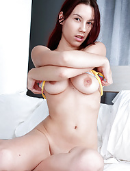 Amateur brunette in cotton panties and bares sexy nipples