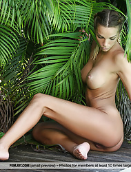 Babe Amber A showing her gorgeous curves completely naked outdoors