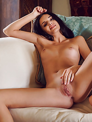 Babe brunette Sasha Sultana peels off her hot lingerie outfit