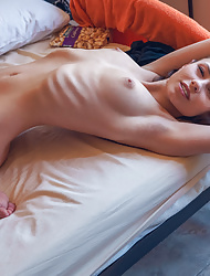 Beautiful thin solo girl Hilary C with hot bald pussy