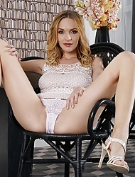 Belle Claire spreading pussy wide open and  pulling down panties to masturbate