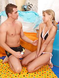 Bikini girl enjoys screwing her very horny boyfriend