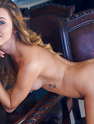 Blonde beauty babe Cara Mell uncovers lustful body and firm tits