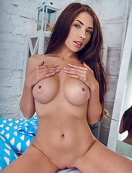 Brunette Niemira with magnificent body reveals hairless pussy