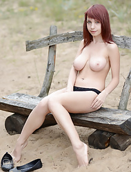 Cute Redheaded Horny Chick With Big Boobs Gets Naked