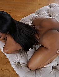 Ebony Sarah Banks playing with her creamy pussy
