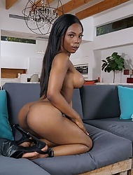 Ebony Sarah Banks strips and flaunts her massive bubbly booty