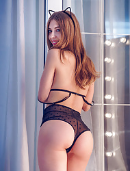 Erotic catgirl Avery sheds her sexy black underwear