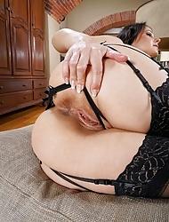 Glamour Czech babe Melisa Mendiny aka Lexa poses in black stockings