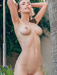 Horny busty brunette Mila Azul touching her pussy and teasing in the shower