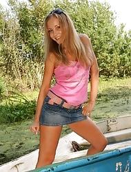Horny hot teen undressing outdoors