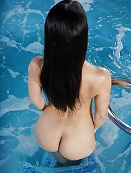 Hot czech brunette Lexa with her sexy ass naked at the pool