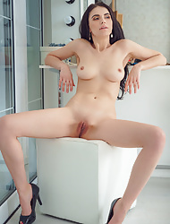 Hot solo Mirela A exposing her gash in her dressing room