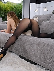 Paige Owens in seamless pantyhose toys her asshole