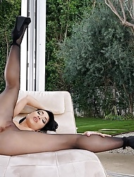Rina Ellis	shedding pantyhose teasing and getting naked