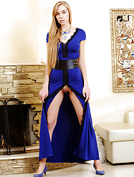 Ryana strips her sexy blue dress baring her smooth pussy