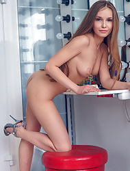 Sexy babe Angel B Megan pantyless in red dress and shows her hot trimmed pussy