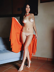 Sexy babe Niemira strips naked for nude posing