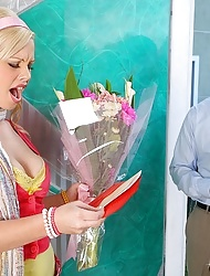 Sexy blonde schoolgirl Allison fucked hard