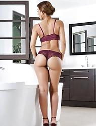 Sexy latina Demi Lopez undresses before taking a bubble bath
