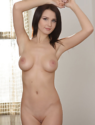 Shaved Busty Gorgeous Brunette Babe with Amazing Breasts