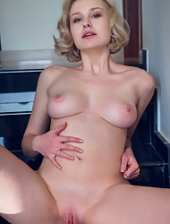 Short haired Natalie P aka Kery with pink nipples wearing only panties