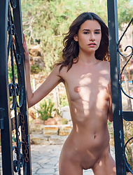 Skinny Cristin Anchen drops her panties to pose naked in the yard