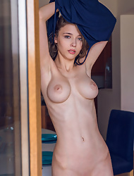 Slim Mila Azul bares her perky tits before fingering herself