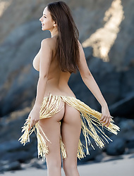 Solo brunette model Alisa I baring her perfect tits and ass outdoors