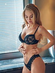 Solo Fantastic babe Nancy A masturbating in hot black lingerie