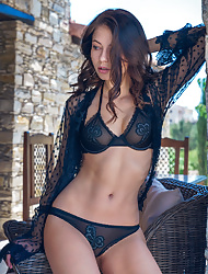 Stunning Hilary in sexy black lingerie uncovers her killer body