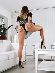 Vanessa Decker exposes upskirt panties before getting naked