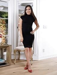 Zaya Cassidy wearing high heels toys her pussy in solo scene